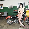 Amerasian import model nude at the garage - image