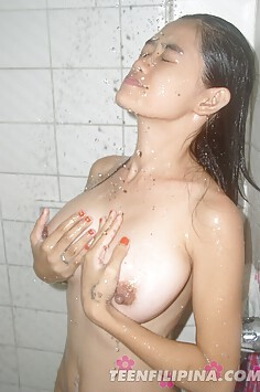 Cooling down a very hot set of big asian tits