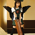 Winged Japanese cosplay girl gets a semen mouthful cumshot - image