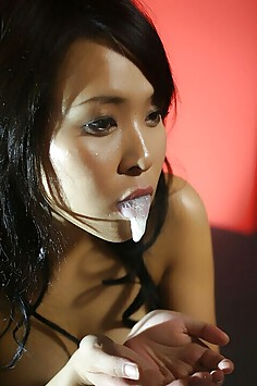 Semen faced and sticky Japanese Bukkake girls