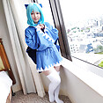 Blue haired cosplay nude pussy - image