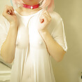 Wet T shirt and cat girl collar cosplay bottomless - image